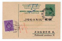 1933 YUGOSLAVIA, CROATIA, ZAGREB, TPO NOVI SAD - BOGOJEVO, 50 PARA, POSTAGE DUE 50 PARA FOR POST BOX - Postal Stationery