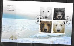 CANADA, 2019, MNH,BEARS,POLAR BEARS, BLACK BEARS, BROWN BEARS,FDC - Bears
