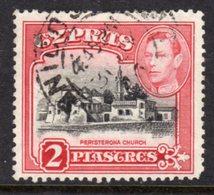 CYPRUS - 1938-1951 1942 TWO PIASTRE KGVI GOOD USED NICOSIA SG 155b REF B2 - Cyprus (...-1960)