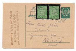 1936 YUGOSLAVIA, SLOVENIA, DRAVOGRAD TO VIENNA, POSTAGE 1.75 DINAR , STATIONARY CARD - Postal Stationery