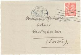 PARIS VIII Carte Lettre 1,50 F Iris OB 4 12 1944 Secap A08601Yv 652 - Storia Postale