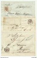 3 FRANCOBOLLI DA 6  KREUZER INNSBRUCK E SILLIAN   SU FRONTESPIZIO - 1850-1918 Keizerrijk