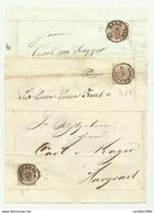 3 FRANCOBOLLI DA 6  KREUZER INNSBRUCK E HALL IN TYROL  SU FRONTESPIZIO - 1850-1918 Keizerrijk
