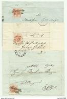 3 FRANCOBOLLI DA 3  KREUZER BOTZEN E LAVIS SU FRONTESPIZIO - 1850-1918 Keizerrijk