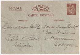Carte Postale Interzone YV Sans Valeur-CP1 Iris Carte Entier - Enteros Postales