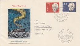 Norvège, FDC (aurore Boréale) N° 417, 418 (Nansen) Obl Oslo Le 10/10/61 - Norvège