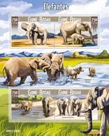 Guinea-Bissau, 2015. [gb15704] Elephants (s\s+block) - Elephants