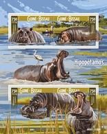 Guinea-Bissau, 2015. [gb15712] Hippopotamus (s\s) - Briefmarken