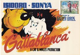 "GATTABLANCA - Cartolina Umoristica Ispirata Al Film ""Casablanca"" - Gatti"
