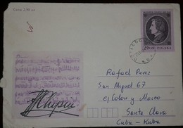 O) 1981 POLAND. FREDERIC CHOPIN -MOST IMPORTANT OF COMPOSITOR AND PIANIST ROMANTICISM, POSTAL STATIONERY TO CARIBE, XF - 1944-.... Republic
