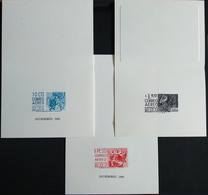MEXICO 1950-1975 DEFINS 3 Small Pres. Cards With Printed Stamps In Diff. Colors, See Img- - Mexico