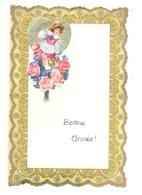 Lettre De Voeux Avec Découpis ( Fillette, Coeur, Fleurs )  LEMBEEK / LEMBECQ 1954  (b257) - Enfants