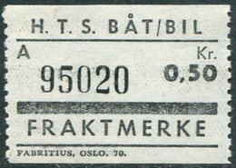 Norway HTS Ferry BÅT / BIL 0,50 Kr. SHIP/BUS Freight Parcel Stamp Fähre Schiff Paketmarke Frachtmarke Colis Bateau Norge - Ships
