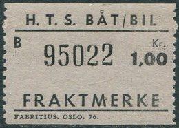 Norway HTS Ferry BÅT/BIL 1 Kr. SHIP/BUS Freight Parcel Stamp Fähre Schiff Paketmarke Frachtmarke Colis Bateau Traversier - Ships