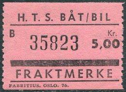 Norway HTS Ferry BÅT/BIL 5 Kr. SHIP/BUS Freight Parcel Stamp Fähre Schiff Paketmarke Frachtmarke Colis Bateau Traversier - Ships