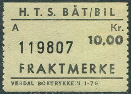 Norway HTS Ferry BÅT/BIL 10 Kr SHIP/BUS Freight Parcel Stamp Fähre Schiff Paketmarke Frachtmarke Colis Bateau Traversier - Bateaux