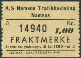 Norway A/S Namsos Trafikkselskap 1 Kr SHIP Ferry Parcel Stamp Fähre Schiff Paketmarke Frachtmarke Colis Bateau Bus Norge - Ships
