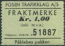 Norway Fosen Trafikklag A/S 1 Kr SHIP Ferry Parcel Stamp Fähre Schiff Paketmarke Frachtmarke Colis Bateau Traversier Bus - Ships
