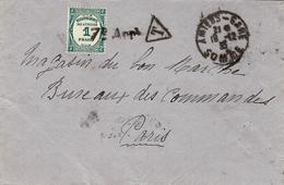 1935 - Enveloppe Non Affranchie  D'Amiens-gare  Pour Paris - TAXE   Par Le 1 F Recouvrement Bleu Vert  SEUL - Lettere Tassate
