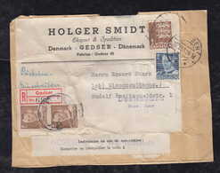 Dänemark Denmark 1951 Registered Parcle Cut Out GEDSER To GLAUCHAU East Germany - Dinamarca