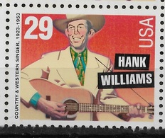 US 1993 Hank Williams American Music Series 29c, Scott # 2723, VF MNH** - Music
