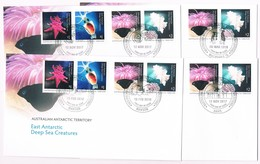 AUSTRALIAN ANTARCTIC TERRITORY (AAT) • 2017 • East Antarctic Deep Sea Creatures  • Base Cancel Set Of 4 Covers - Unused Stamps