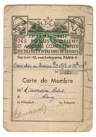 Carte Union Nationale Des Poilus D'Orient Et Anciens Combattants Des TOE - Documents