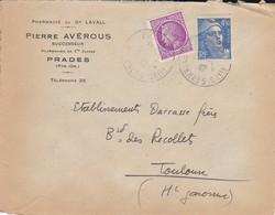 LETTRE--66---PRADES---Pierre AVEROUS Successeur--pharmacie  Du Dr LAVALL--voir 2 Scans - Marcophilie (Lettres)