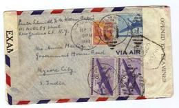 """USA, 1942, Briefkuvert Mit Mehrfachfrankatur Nach Indien, Mit Zensurstriefen """"OPENED BY EXAMINER"""",(9325W) - United States"""