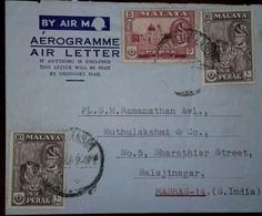 O) 1957 CIRCA - MALAYA - PERAK - SULTAN YUSSUF IZZUDDIN SHAH - ALWI MOSQUE -ARCHITECTURE, TIGER, AEROGRAME -AIR LETTER A - Stamps