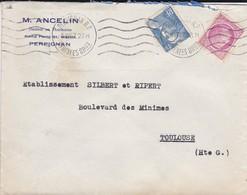 LETTRE--66---PERPIGNAN---1947--M. ANCELIN--Docteur En Pharmacie Rond Point Saint-martin--voir 2 Scans - Marcophilie (Lettres)