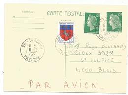 ENTIER 30C CHEFFER CP 30C+20C BLASON  AVION 98 DZAOUDZI 6.12.1977 MAYOTTE - Postmark Collection (Covers)