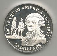 Cook, 1991, 500° Scoperta Dell'America, 50 $ Argento Fondo Specchio. - Isole Cook