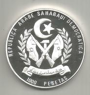 Sahrawi, 1992, 10 Ecù/1000 Pesetas, Argento Fondo Specchio. Onore Alla Comunità Europea. - Sahara Occidental