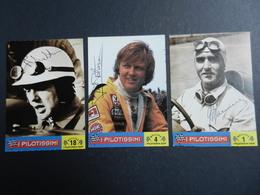 19971) I PILOTISSIMI LOTTO DI TRE FIGURINE CON FIRMA A STAMPA PETERSON - FARINA - HAWTHORN - Automobilismo - F1