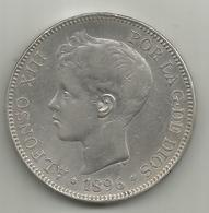 Spagna, 1896, 5 Pesetas Ag. Alfonso XIII. - Altri