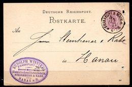 ALLEMAGNE. Carte Pré-timbrée Du N°37 Ayant Circulé En 1887. Oblitération : Frankfurt. - Briefe U. Dokumente