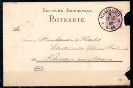 ALLEMAGNE. Carte Pré-timbrée Du N°37 Ayant Circulé En 1888. Oblitération : Hamburg. - Briefe U. Dokumente
