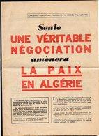 Militaria,Guerre D'Algérie / 1960 Supplément De L'Humanité / Propagande Pour La Paix En Algérie - Documents