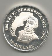 Cook, 1991, 50 $, 500° Scoperta Dell'America, Argento Fondo Specchio. - Isole Cook