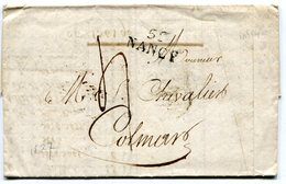 MEURTHE ET MOSELLE De NANCY LAC Du 22/02/1827 Linéaire 25x11,5 Et Taxe De 4 Pour COLMAR - Storia Postale