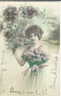 Cpa 11 Pépieux * Jeune Femme , Ww1, Je Pense à Vous , Voyagée 1915 - Donne