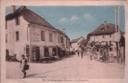 Cp ST GINGOLPH (Suisse) - 1935 - La Frontière (Brasserie Bière Beauregard, Shell) - VS Valais