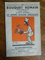 BLANKENBERGHE +BRUXELLES:DOUBLE CARTE PUB AVEC TARIF AU BOUQUET ROMAIN -DESSIN DE JR WILLIS - Publicités