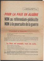 Militaria,Guerre D'Algérie / 1960 Supplément De L'Humanité / Référendum,Propagande Pour La Paix En Algérie - Documents