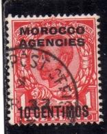MAROC MAROCCO MOROCCO AGENCIES 1935 1937 KING GEORGE V RE GIORGIO 10c On 1p USED USATO OBLITERE' - Uffici In Marocco / Tangeri (…-1958)