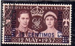 MAROC MAROCCO MOROCCO AGENCIES 1937 CORONATION OF KING GEORGE VI AND ELIZABETH 15c On 1 1/2p USED USATO OBLITERE' - Uffici In Marocco / Tangeri (…-1958)