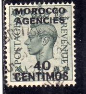 MAROC MAROCCO MOROCCO AGENCIES 1937 1940 KING GEORGE VI 40c On 4p USED USATO OBLITERE' - Uffici In Marocco / Tangeri (…-1958)