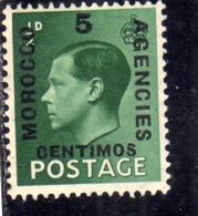 MAROC MAROCCO MOROCCO AGENCIES 1936 KING GEORGE V 5c On 1/2 P MLH - Oficinas En  Marruecos / Tanger : (...-1958