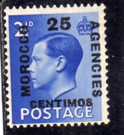 MAROC MAROCCO MOROCCO AGENCIES 1936 KING GEORGE V 25c On 2 1/2p MNH - Uffici In Marocco / Tangeri (…-1958)